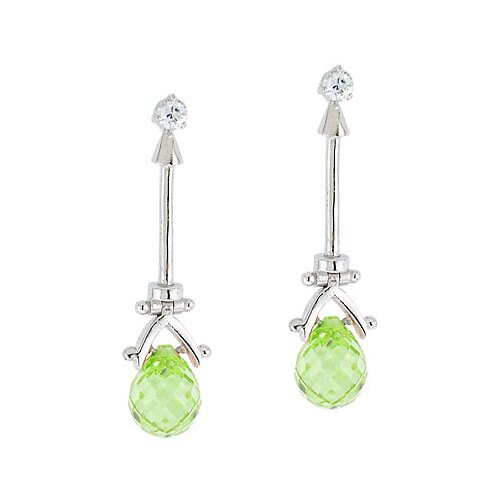 Light Green Peridot Crystal Briolette Drop Earrings