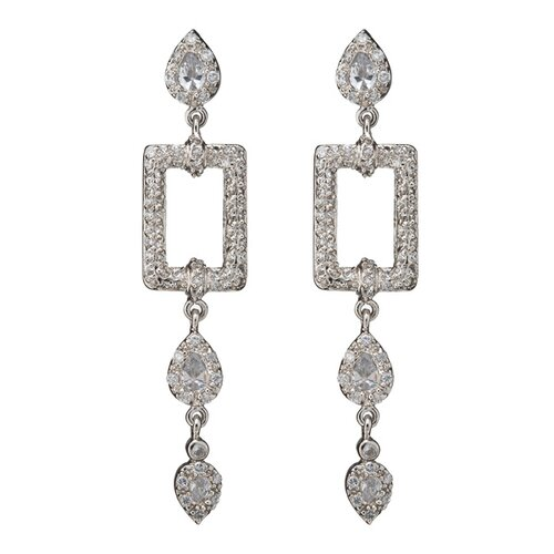 Rozzato Square Outline with Hanging Drops Rhodium Earrings