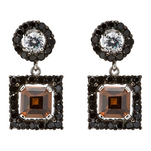 Rozzato Round Stud Set with Beautiful Square Coffee Drop Earrings