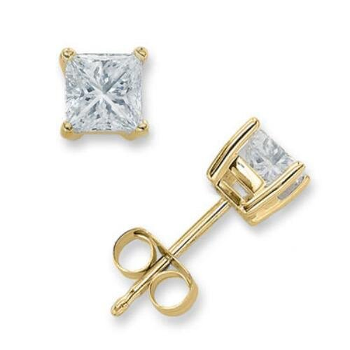 2 CT Princess Cut Diamond Stud Vermeil Plated Bridal Jewelry Earrings