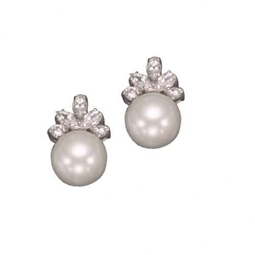 Cultured Pearl cubic zirconia Sterling Silver Earrings
