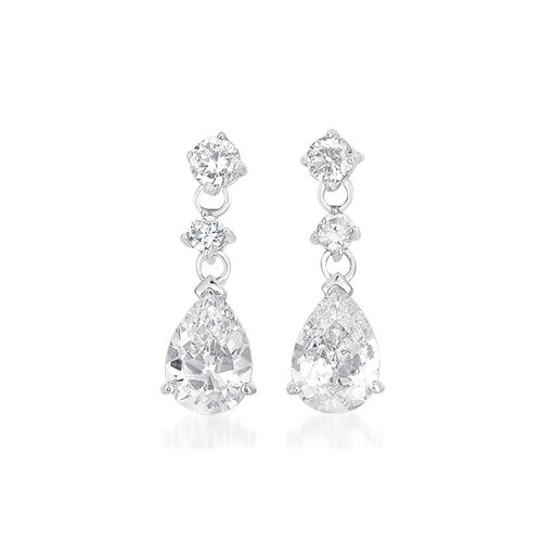 Designer Inspired Silver Sparkling Pear Double Drop Earrings