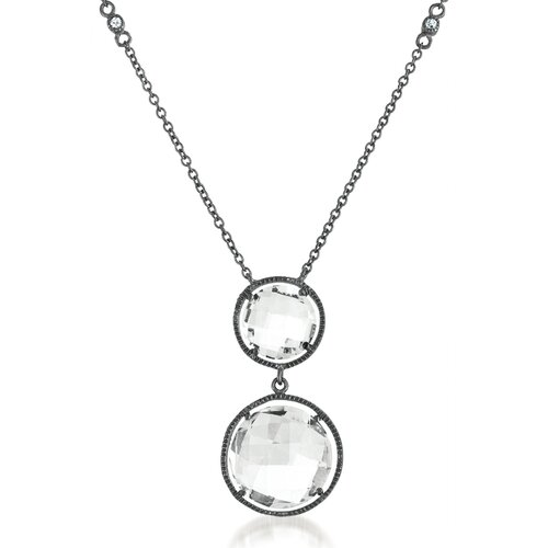 White Topaz Diamond Double Round Drop Chain Necklace