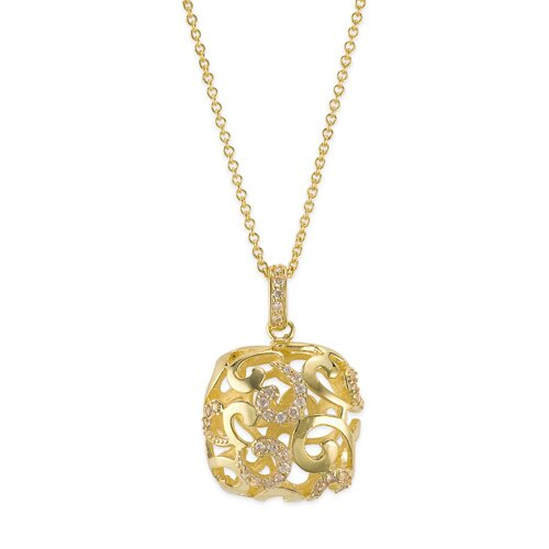 Champagne Square Drop Vermeil Plated Sterling Silver Pendant