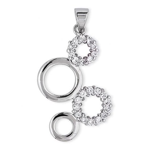 Rozzato Sterling Silver Diamond Bubble Circle Pendant