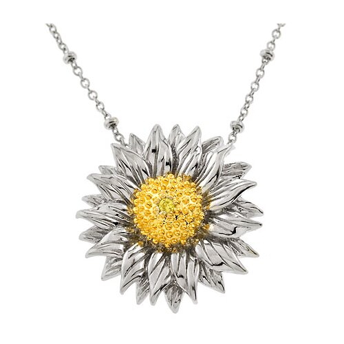 Rozzato Lovely Sunflower Silver Pendant