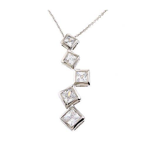 Princess Cut Diamonds Silver Pendant