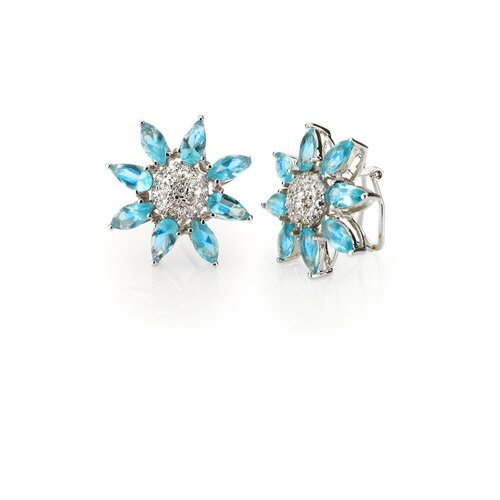Round Flower Cubic Zirconia Earrings
