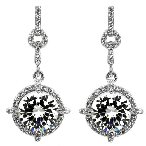 Splendid Cubic Zirconia Diamond Dangle Drop Earring