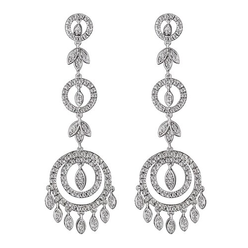 Cubic Zirconia and Sterling Silver Dangling Circle Chandelier Earrings