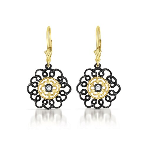 Lace Flower Cubic Zirconia Euro Earrings