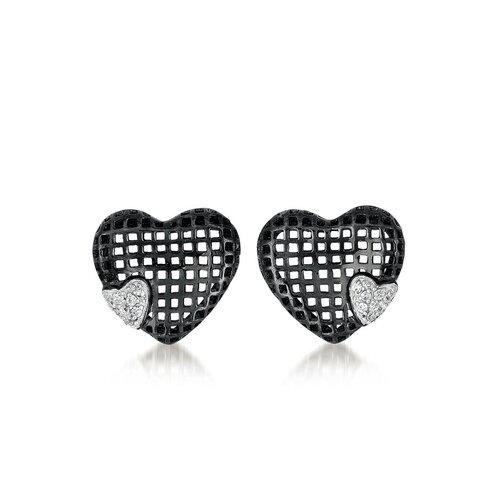 Rozzato Lace Heart Cubic Zirconia Earrings