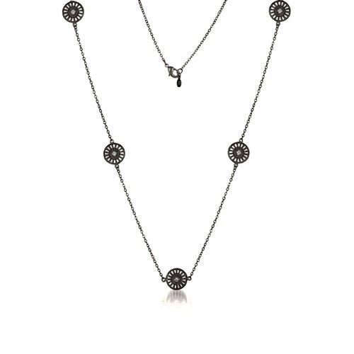 Rozzato Sterling Silver Fine Cubic Zirconia and Filigree Lace Design Five Circle Plated Necklace