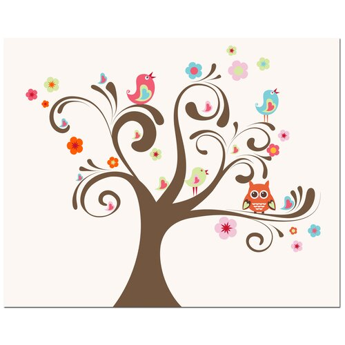Secretly Designed Owl and Bird Tree Canvas Art