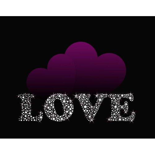 Love with Purple Hearts Wall Art Print
