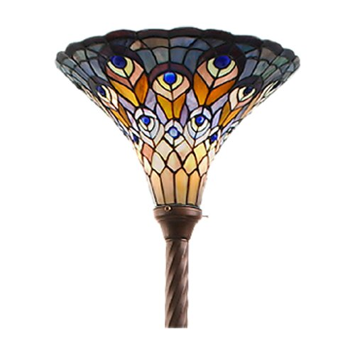 Warehouse of Tiffany Tiffany-Style Peacock Torchiere Floor Lamp