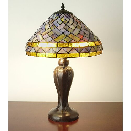 "Warehouse of Tiffany Geometric 22"" H Table Lamp with Bowl Shade"