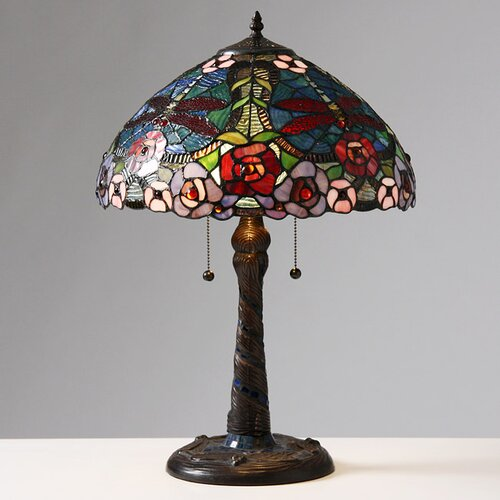 """Warehouse of Tiffany Rose Dragonfly 23"""" H Table Lamp with Bowl Shade"""