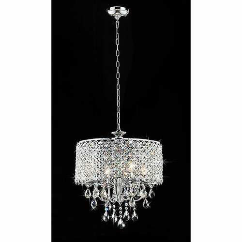 Warehouse of Tiffany 4 Light Round Crystal Chandelier