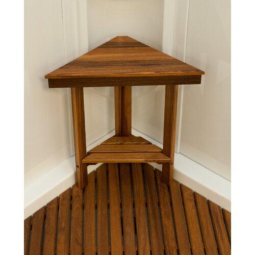 Teakworks4u Teak Mini Corner Shower Bench with Shelf