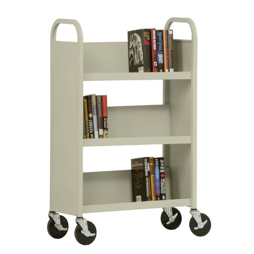 "Sandusky Cabinets 27"" W Single Sided Sloped-Shelf Mobile Book Truck in Putty"