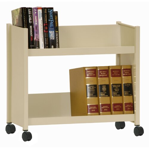 Sandusky Cabinets Sloped-Shelf Mobile Book Truck in Putty