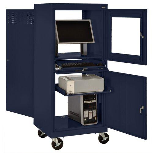 Sandusky Cabinets Mobile Computer Desk with Security Workstation