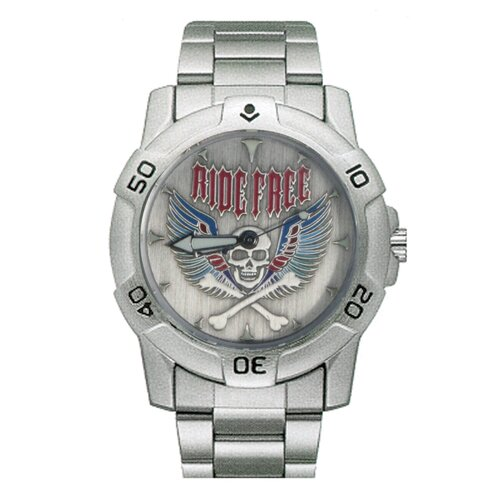 Chrome Biker Watch with Ride Free Skull and Wings Emboss