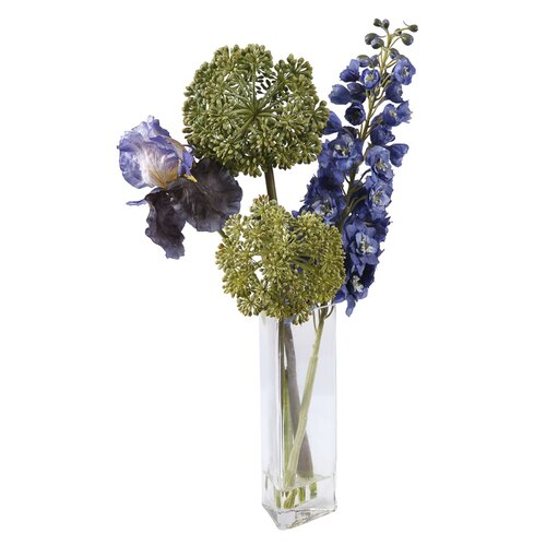 Square Glass Vase with Deliphinium/Iris