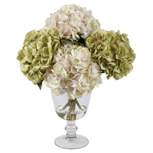 Glass Vase with Pink and Green Hydrangeas