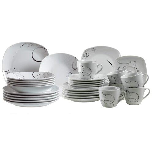 Domestic by Maser Chanson 30 Piece Dinnerware Set in Uni White