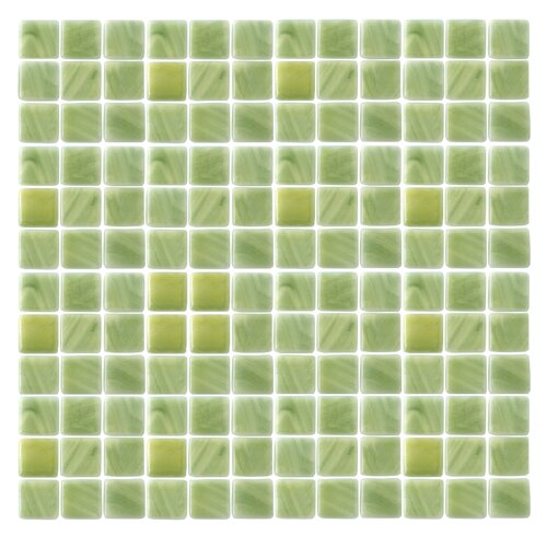 """Epoch Architectural Surfaces Spongez S-Green 1"""" x 1"""" Recycled Glass Mosaic in Green"""