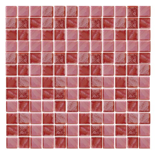 "Epoch Architectural Surfaces Iridescentz I-Red 1"" x 1"" Recycled Glass Mosaic in Red"