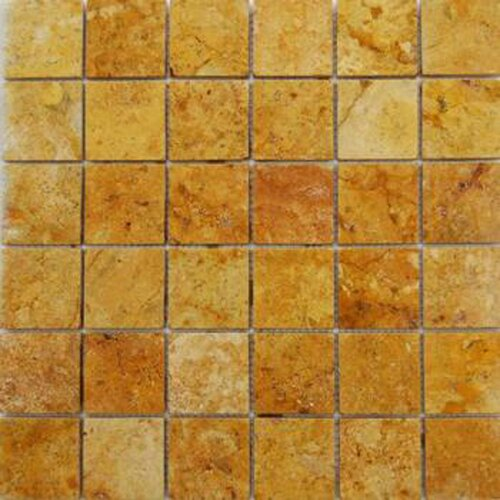"""Epoch Architectural Surfaces 2"""" x 2"""" Tumbled Travertine Mosaic in Golden Sienna"""