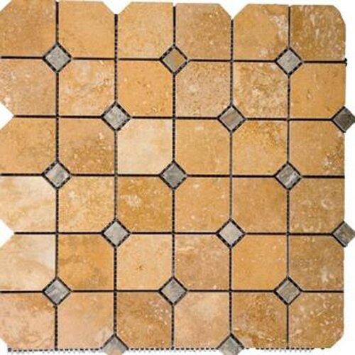 Epoch Architectural Surfaces Random Sized Honed Travertine Hexagon Mosaic in Golden Sienna