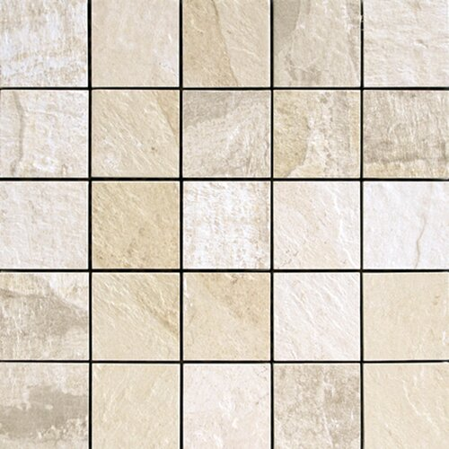 "Epoch Architectural Surfaces 12"" x 12"" Porcelain Mosaic in White Slate"