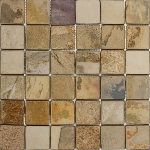 """Epoch Architectural Surfaces 2"""" x 2"""" Tumbled Slate Mosaic in Fall"""