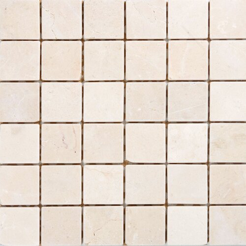 "Epoch Architectural Surfaces 2"" x 2"" Polished / Tumbled Marble Mosaic in Crema Marfil"