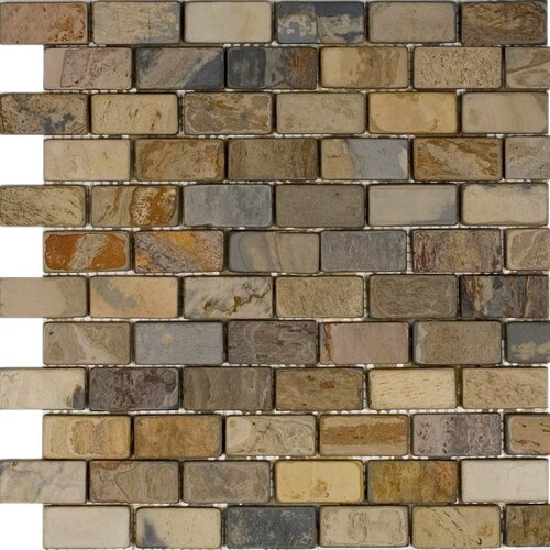 "Epoch Architectural Surfaces 2"" x 1"" Tumbled Slate Mosaic in Fall"