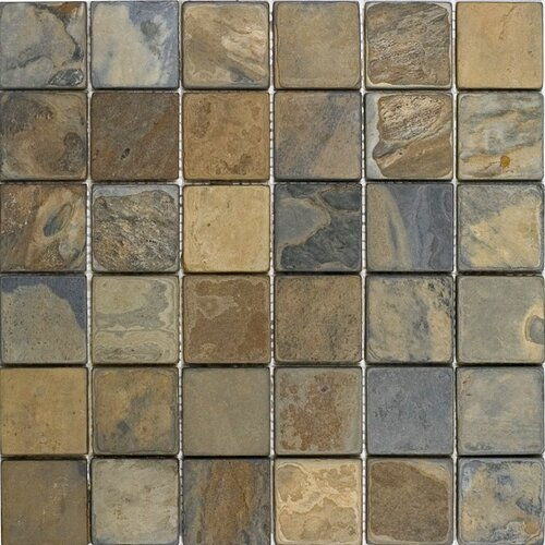 "Epoch Architectural Surfaces 2"" x 2"" Tumbled Slate Mosaic in California Rustic"