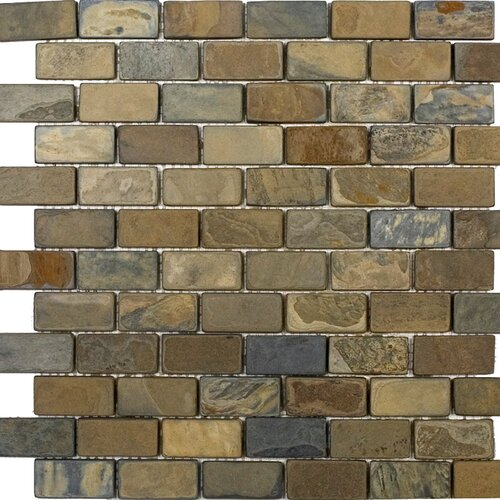 "Epoch Architectural Surfaces 2"" x 1"" Tumbled Slate Mosaic in California Rustic"