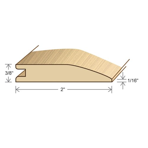 "Moldings Online 0.375"" x 2"" Solid Hardwood Australian Cypress Reducer in Unfinished"