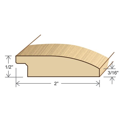 "Moldings Online 0.5"" x 2"" Solid Hardwood Birch Reducer in Unfinished"