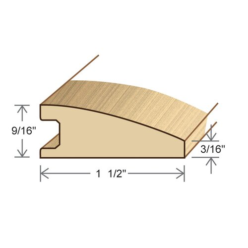 """Moldings Online 0.56"""" x 1.5"""" Solid Hardwood White Ash Reducer in Unfinished"""