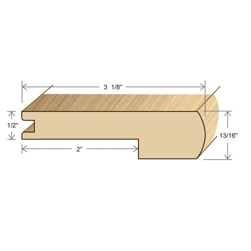 "Moldings Online 0.81"" x 3.13"" Solid Hardwood Acacia Stair Nose in Unfinished"