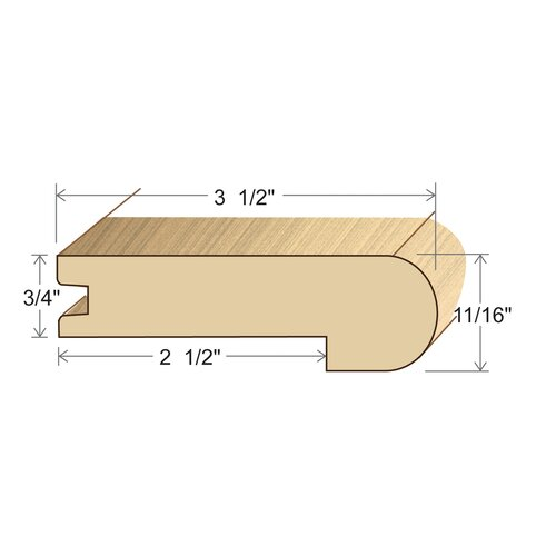 "Moldings Online 0.69"" x 3.5"" Solid Hardwood White Oak Stair Nose in Unfinished"