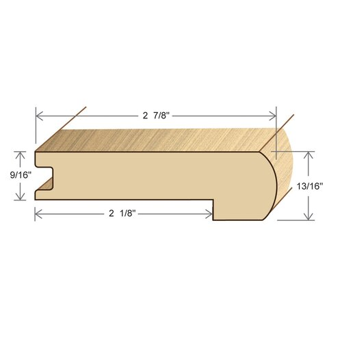 "Moldings Online 0.56"" x 2.88"" Solid Hardwood Red Oak Stair Nose in Unfinished"