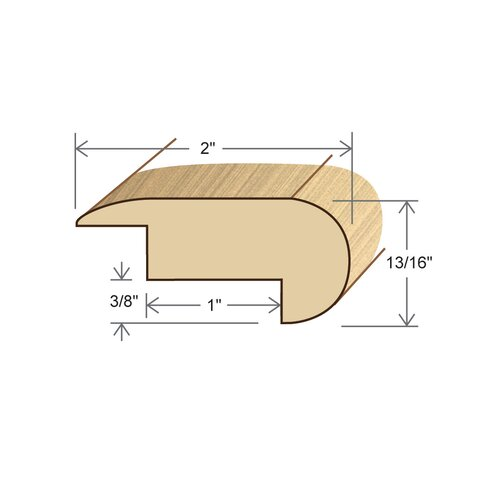 "Moldings Online 0.81"" x 2"" Solid Hardwood Acacia Stair Nose Overlap in Unfinished"