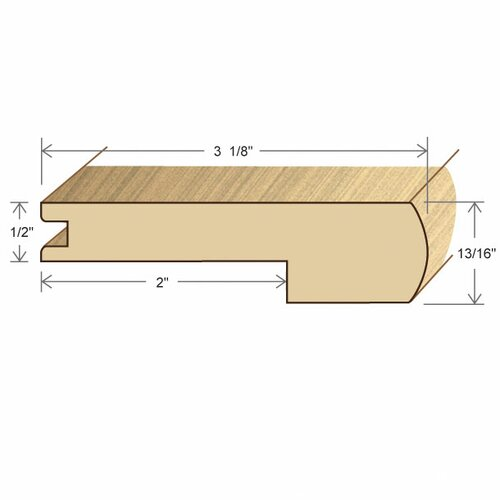 "Moldings Online 0.47"" x 3.15"" Solid Hardwood Bamboo Carbonized Horizontal Stair Nose in Unfinished"