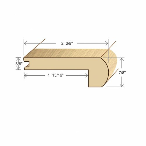 """Moldings Online 0.44"""" x 3.15"""" Solid Hardwood Red Oak Stair Nose in Unfinished"""